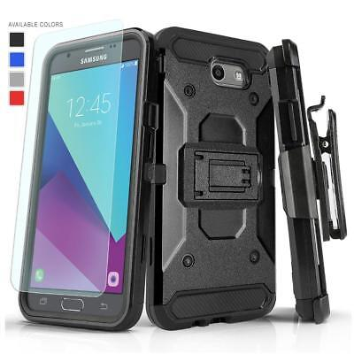 Tank Armor Cover Case & Holster For [Samsung Galaxy J7 Sky Pro] +Tempered Glass