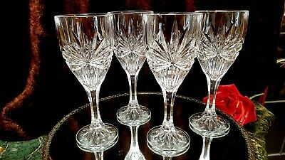 4 FABULUS 8oz Crystal Wine Glasses Water Goblets STARBURST DESIGN & PANEL Foot!