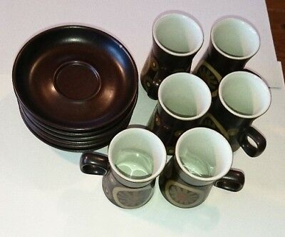 Set of 6 Denby Pottery Stoneware Arabesque Small Coffee Cups & Saucers