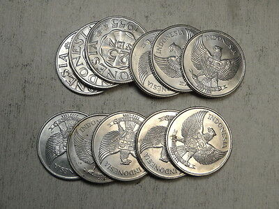 Lot of 11 - Indonesia 25 Sen 1955, KM11, Choice Uncirculated  1130-24