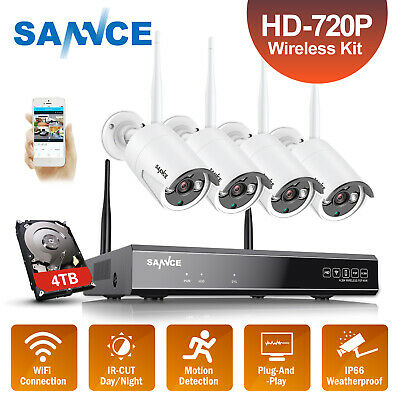SANNCE Wireless HD 1080P HDMI 4CH NVR WIFI 720P Security IP Camera System IR CUT