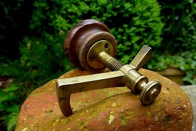 Antique wooden carved special door knob handle & brass special lock latch 12-12