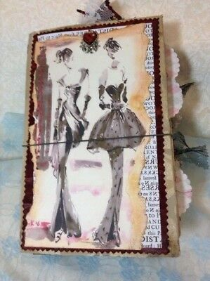 Vintage Junk Journal Fabric Cover, Midori Handmade, Two Inserts