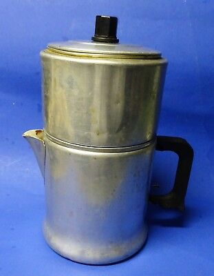 """Vtg. Sears """"Maid of Honor"""" aluminum stovetop 8-cup coffee percolator -- COMPLETE"""