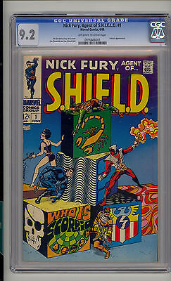 Nick Fury Agent of SHIELD #1 CGC 9.2 NM- Unrestored Marvel 1st issue OW/W Pages