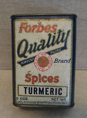 Vintage Food Advertising-FORBES Tea/Coffee Co.-TURMERIC SPICE Tin-St. Louis-MO