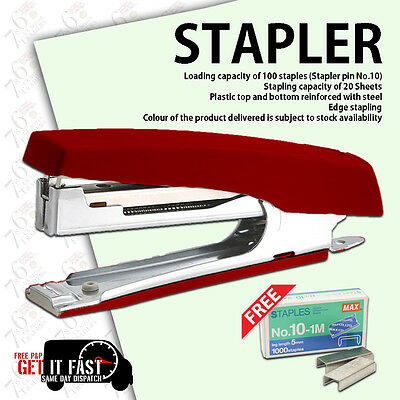 New Stapler Office Duty Strip Metal & Plastic Stapler & Free Pack Of 1000 Staple