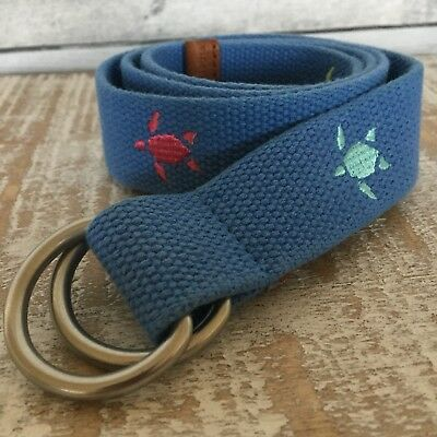Vineyard Vines Boys' D-Ring Belt Size XL Turtle Embroidered Canvas MSRP $45