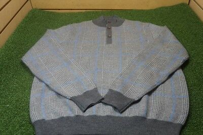 Fairway & Greene Signature  Merino Wool Patterned Sweater GreyBlue 17D