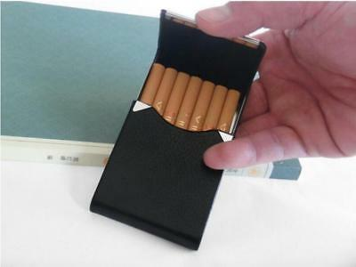 Black Pocket Leather Metal Tobacco 7 Cigarette Smoke Holder Storage Case SHIP US