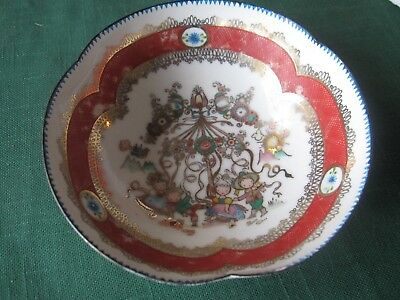 VTG Fine China Porcelain Bowl Hand Painted Children Carousel  Stamped A2