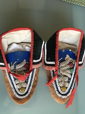 Antique Native Plains American Indians Iroquois Beaded Moccasins 21 Cm Length