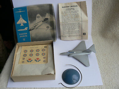 Wiking-Flugzeug Aircraft-Model: Gloster Javelin Silberserie+Box+Decals+Sockel