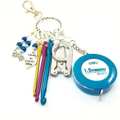 Travel Crochet Kit Crochet Keyring Emergency Crochet Set Stitch Marker Handmade