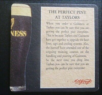 1995 Guinness Pub Beermat - The Perfect Pint at the Taylors