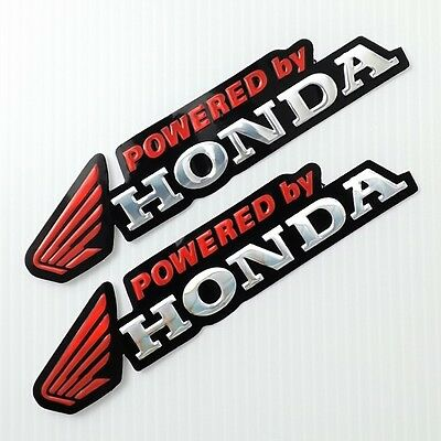 *2Pc. Red Powered By Honda Wing Reflective Sticker Die-Cut Foil Emboss Car Bike