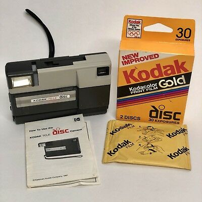 Kodak Tele Disc Camera Point and Shoot with 3 pack disc film and Manual