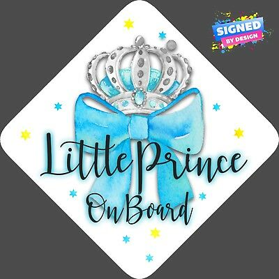 Little Prince on Board, Child Baby On Board Car sign Blue Bow Silver ~ Non Pers