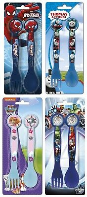 KIDS CHARACTER PLASTIC CUTLERY (FORK AND SPOON) SETS - Spiderman Paw Patrol etc