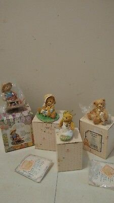 CHERISHED TEDDIES LOT OF 4 BEAR FIGURINES Enesco Easter Priscilla Hillman