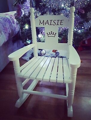 Pleasant Personalised Wooden Childrens Rocking Chair Seat White Blue Bralicious Painted Fabric Chair Ideas Braliciousco
