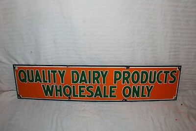 "Vintage 1940's Quality Dairy Products Milk Farm Gas Oil 36"" Porcelain Metal Sign"