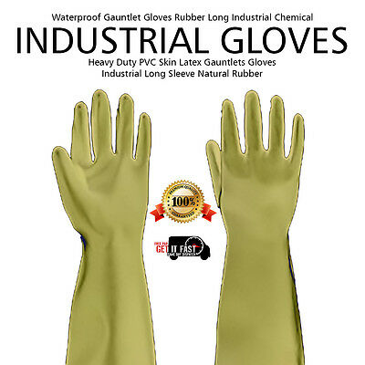 New Industrial Long Skin Latex Gauntlets Gloves Sleeve Natural Rubber Set Glove
