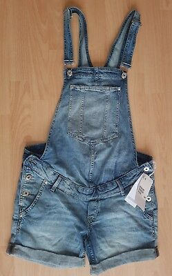 BNWT H & M Mama maternity Blue denim dungaree shorts size 10