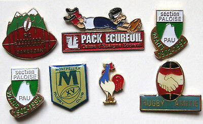 Lot 7 Pin's Rugby : Pau Section Paloise - Montpellier Rugby Club - Rc Barbazan