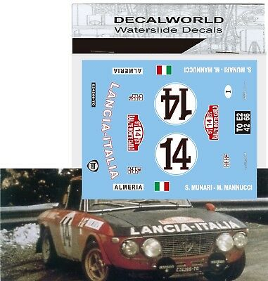 Waterslide Decals Lancia Fulvia Coupe Montecarlo 1972 1/18 - 1/24 - 1/32 - 1/43