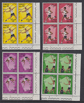 Somalia 1968 Mint MNH Full Sets in blocks of 4 Mexico Olympics Sport Basketball