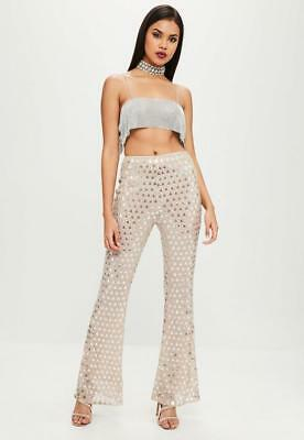 cfe64c7e44e4b MISGUIDED carli bybel x missguided nude embellished flared high waist  trouser