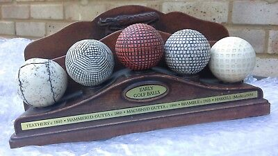Early Golf Balls Letter Rack History Craft A0964
