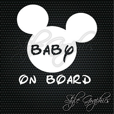 Mickey mouse ears baby on board safety car van window vinyl decal sticker
