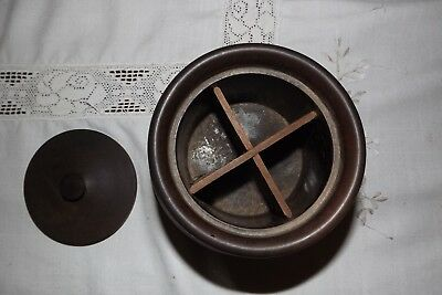 """ANTIQUE HARDWOOD SEGMENTED SPICE/TOBACCO JAR WITH LID & FINIAL 6"""" x 5"""" HEAVY"""