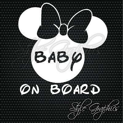 MINNIE MOUSE ears baby on board safety car van window vinyl decal sticker