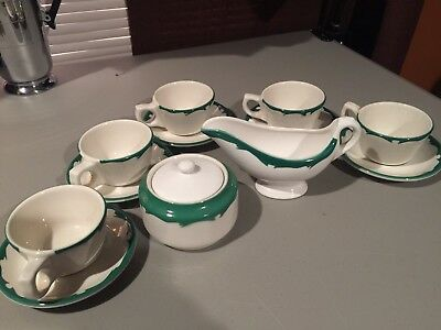 Buffalo China Restaurant Ware 5 Scrolled Coffee Cups & Saucers Sugar & Creamer