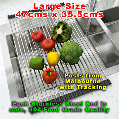 Over Sink Dish Drainer Roll Up Rack in Stainless Steel by Clever Contraptions