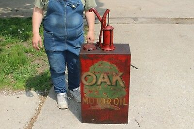 Rare Vintage c.1930 Oak Motor Oil 15 Gallon Lubester Gas Station Can Sign