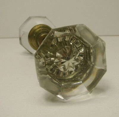 Antique Vintage 1 Set 8 Point Crystal Clear Glass Door Knob Handles with Spindle