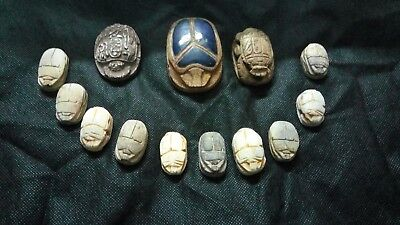 Collection of  Ancient Egyptian Scarabs Antique Stone & limestone 1825-1410 BC