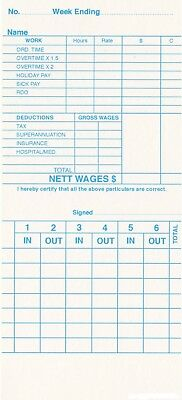 QR-120 Weekly Payroll Cards Employee Time Attendance Cards