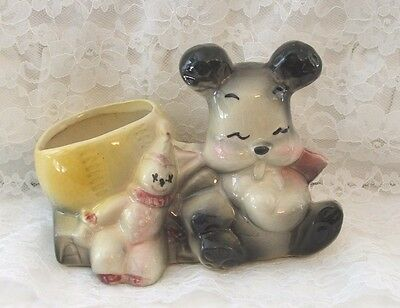 AMERICAN BISQUE BEAR BASEBALL and CLOWN PLANTER 1950'S