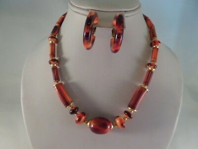 Vintage Brown and Orange Plastic Necklace and Clip Earrings C2