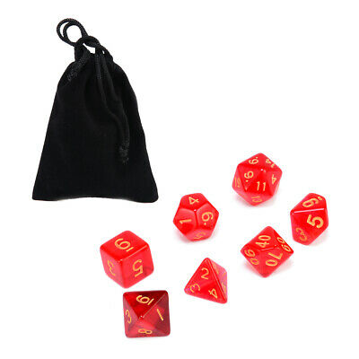 7x Translucent Polyhedral Dice with Bag Red Set For DnD Party Table Game NEW