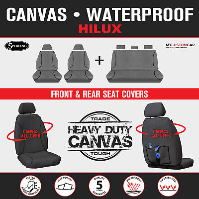 Heavy Duty Waterproof Canvas Seat Covers for Toyota HiLux Dual Cab 2010-OCT/2015