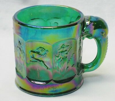 Heisey by Mosser Iridized Forest Green Glass Child's Nursery Rhyme Mug HCA 1998