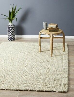 JUTE RUG BLEACH White Cream Large mat Carpet FREE DELIVERY*