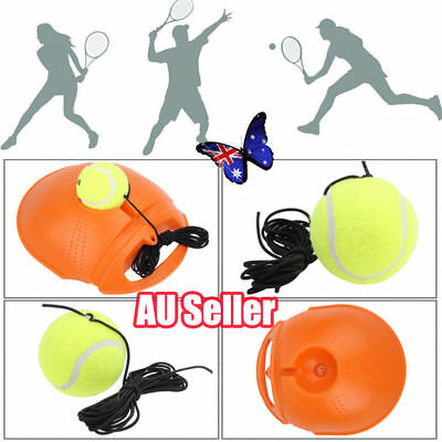 Outdoor Tennis Ball Singles Training Practice Drills Back Base Trainer ON