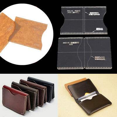 2pcs Acrylic Clear Craft Pattern Template Tool For Leather Wallet Bag CraftSC